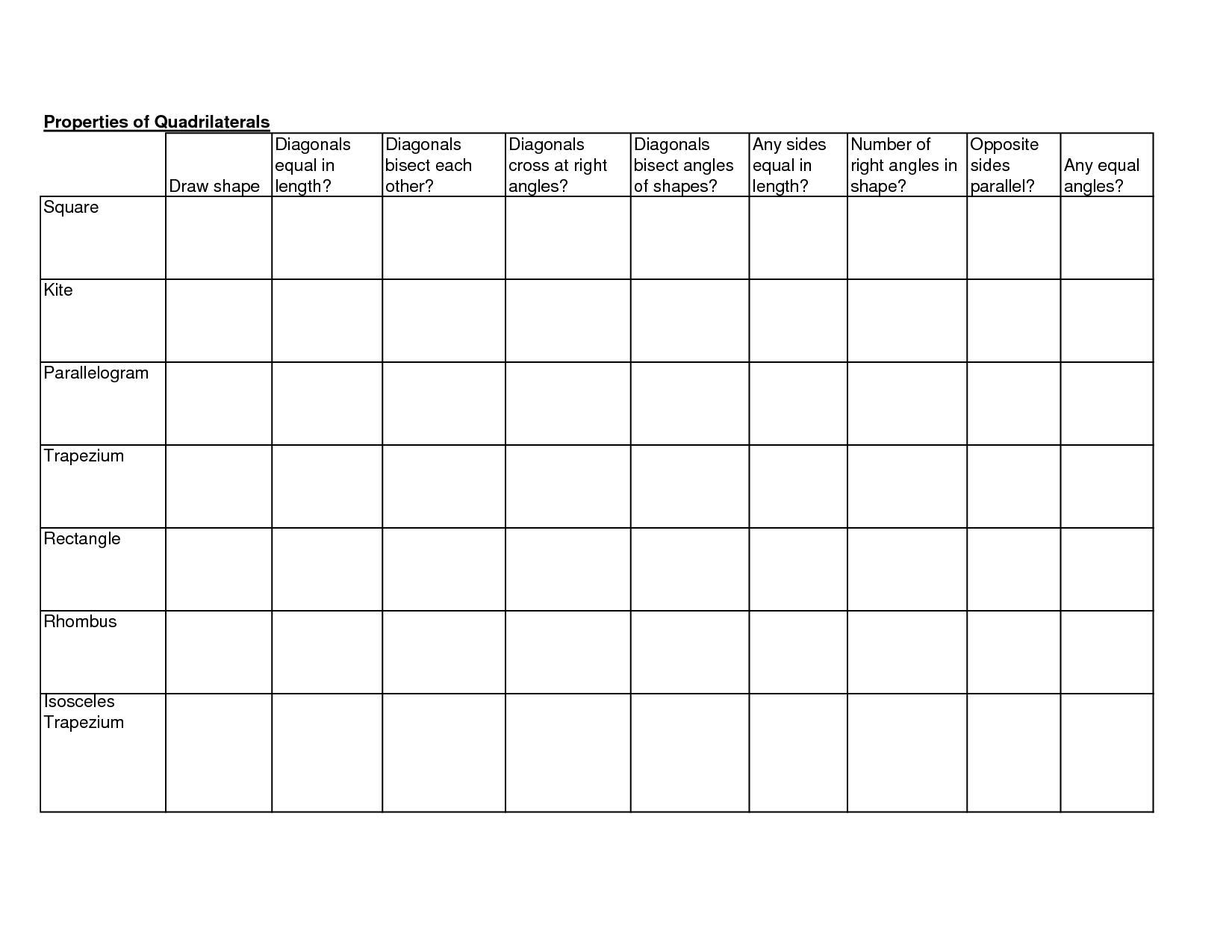 Grade 8 Math Worksheets Quadrilaterals