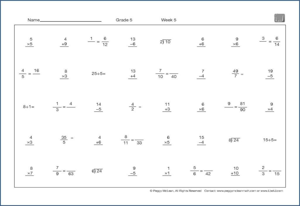 Math Questions Worksheet