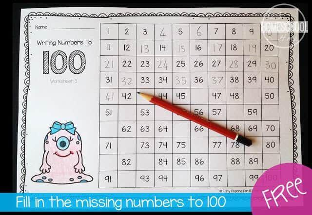 Math Worksheets Numbers 1-100 7