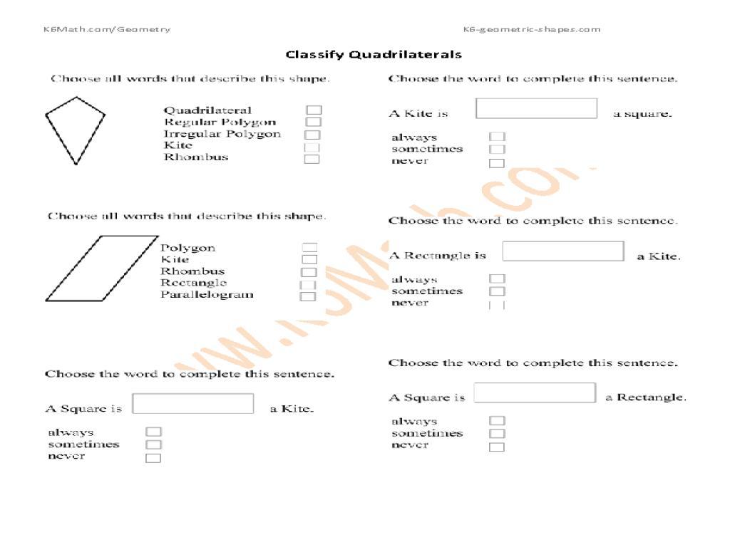 Math Worksheets Quadrilaterals 2