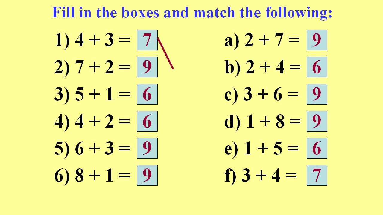 Math Worksheets Single Digit Addition 6