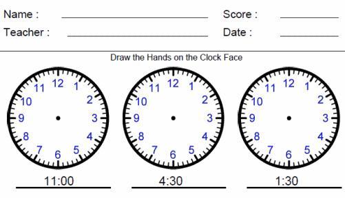 Math Worksheets Time 1