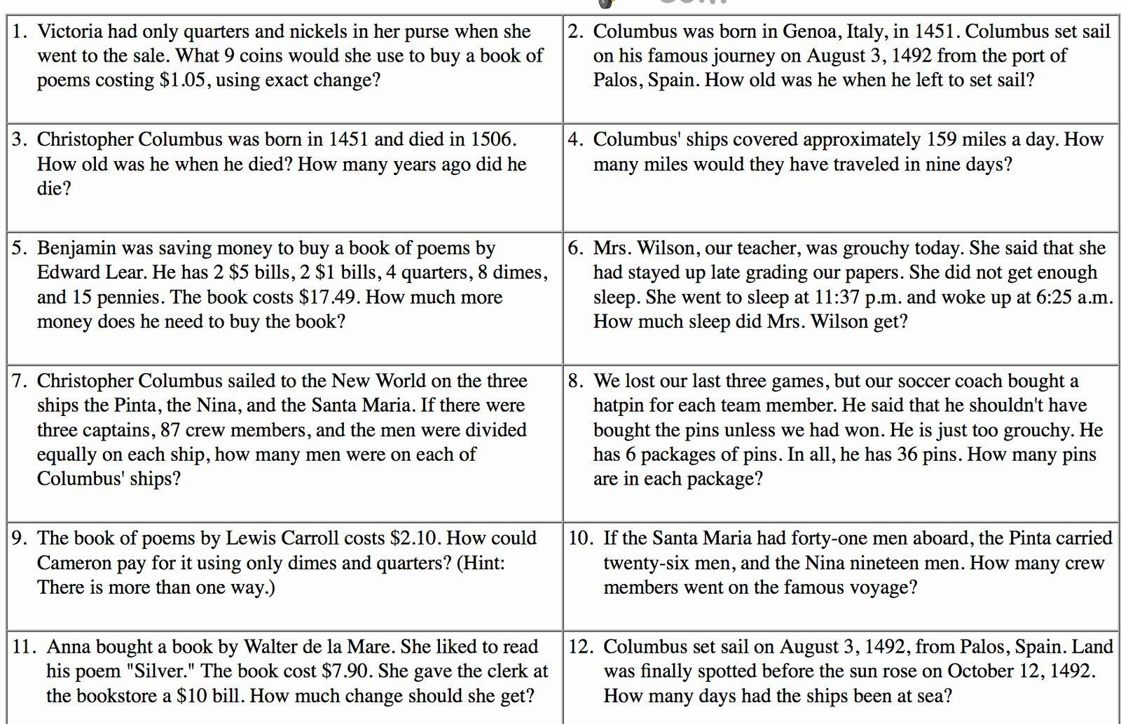 Math Worksheets Word Problems 3rd Grade