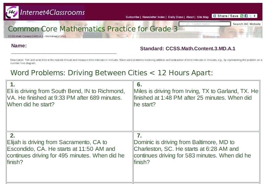 Math Worksheets Word Problems Grade 4
