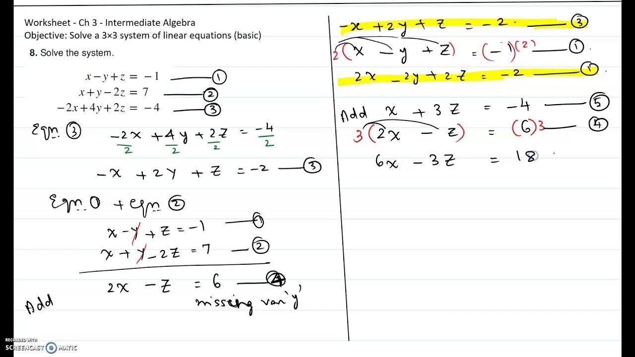 Algebra 2 Worksheets Solving Equations