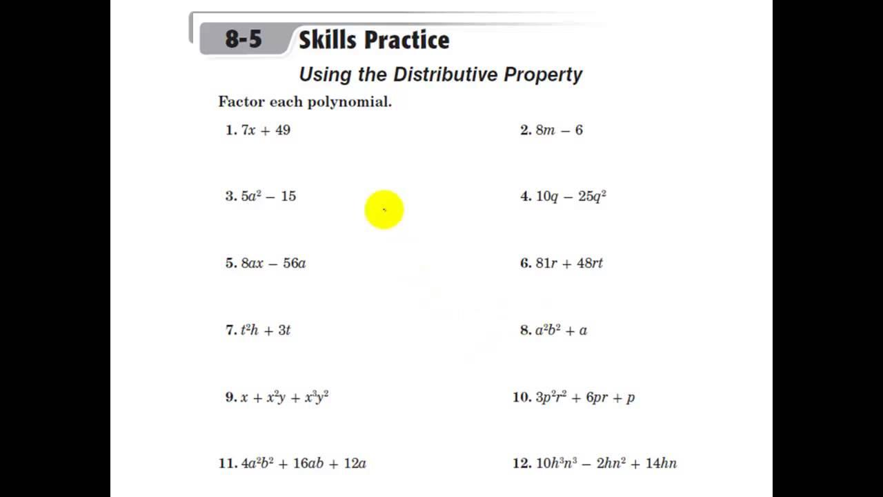 Algebra Distributive Property Worksheets With Answers