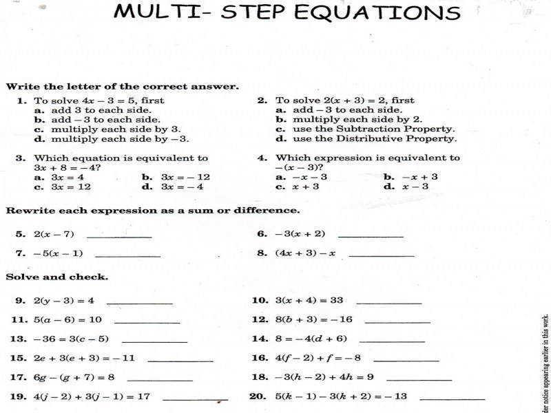 Algebra Equations Worksheets Year 8