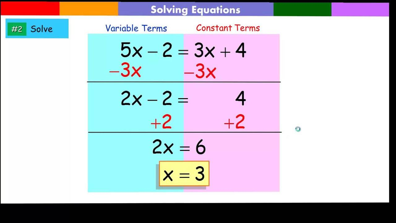 Algebra Problems With Variables On Both Sides Worksheets