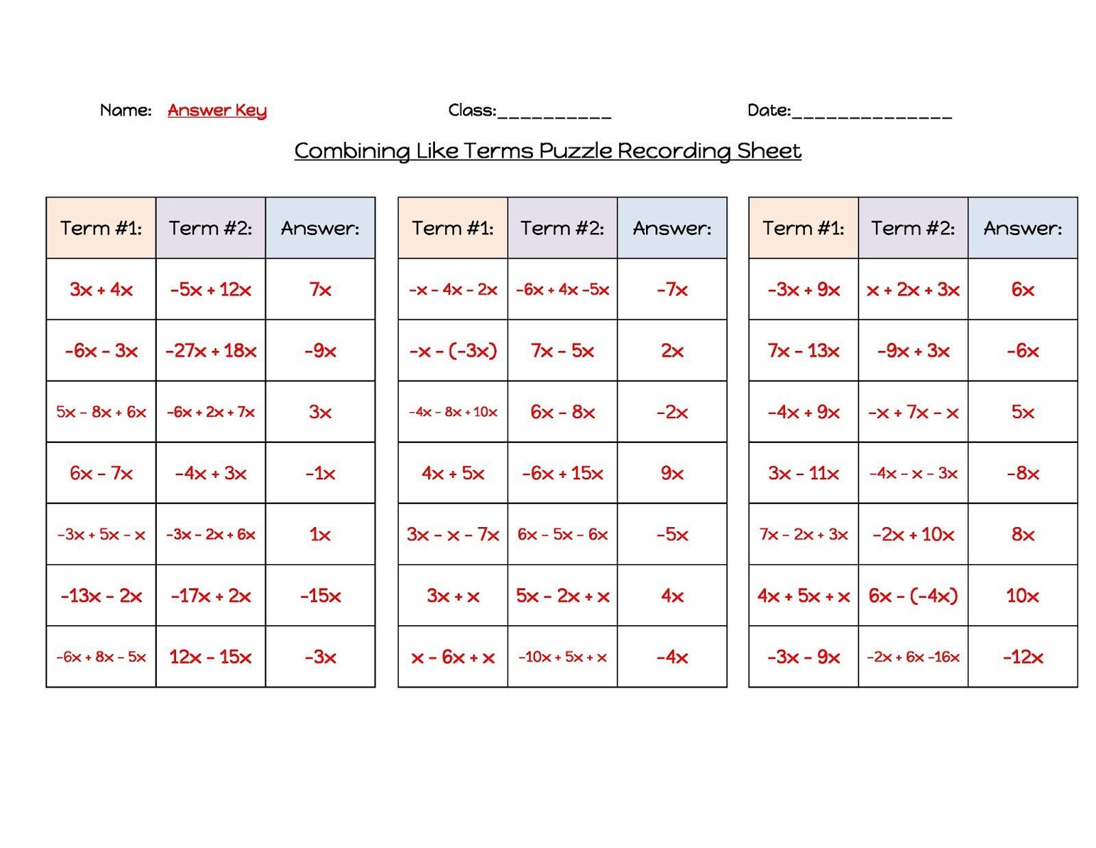 Algebra Readiness Worksheets Answers 9