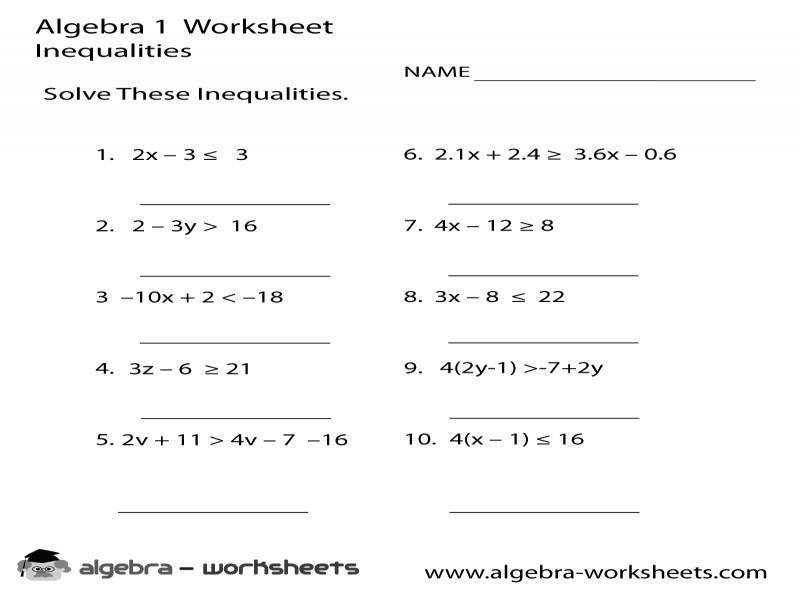 Algebra Single Variable Worksheets 2