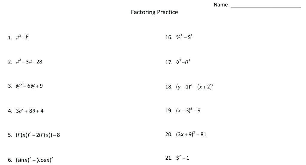 Algebra Worksheets For Year 7 1