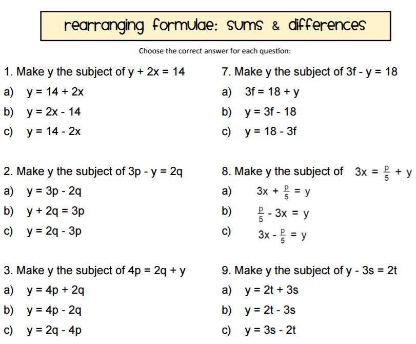 Algebra Worksheets Rearranging Equations 1