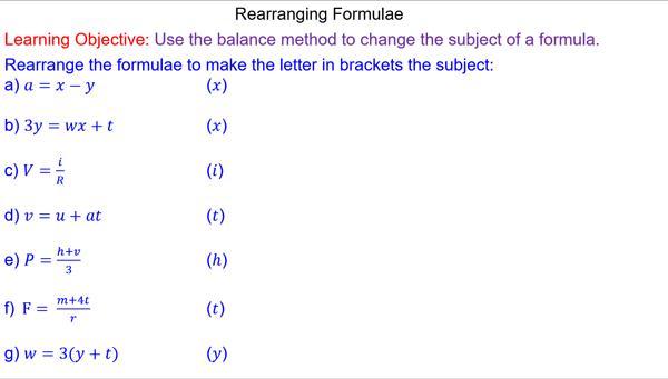 Algebra Worksheets Rearranging Equations 5