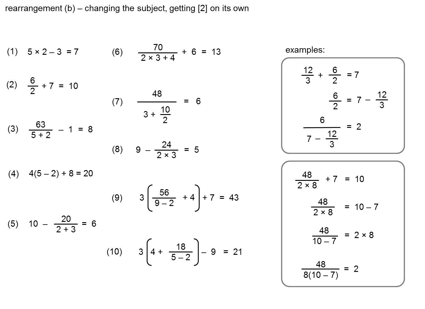 Algebra Worksheets Rearranging Equations 8