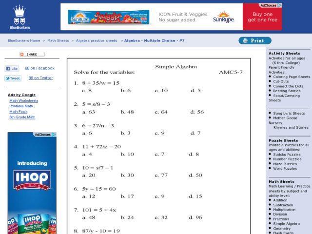 Algebra Worksheets Solving Simple Equations