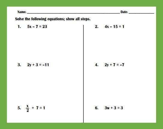 Algebra Worksheets Solving Two Step Equations 1