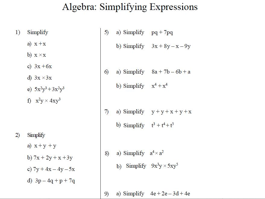 Algebraic Expressions Worksheets 7th Grade With Answers