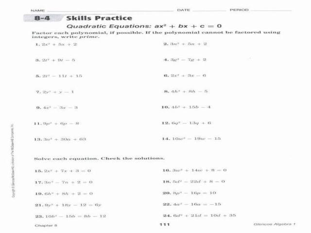 Integrated Algebra Worksheet Quadratic Functions Answers