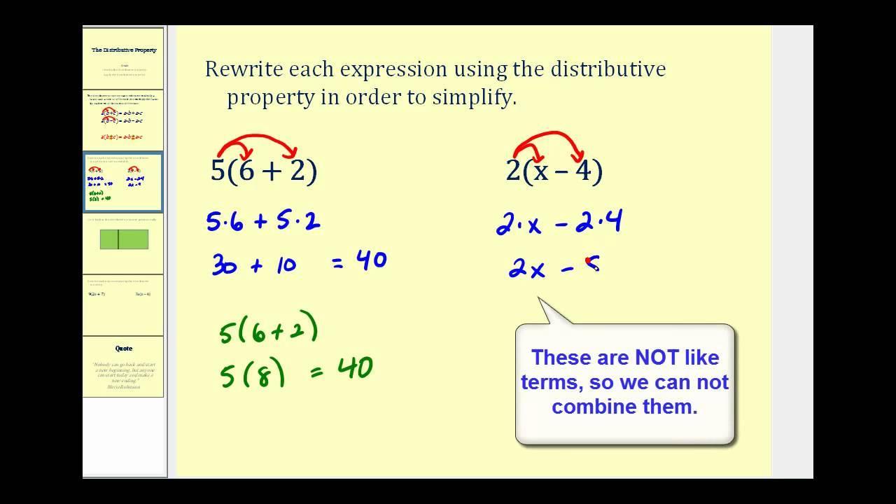 Math Worksheets Distributive Property Equations