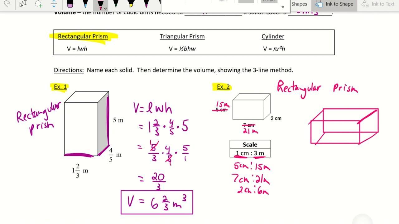 Pre Algebra Volume Worksheets 1