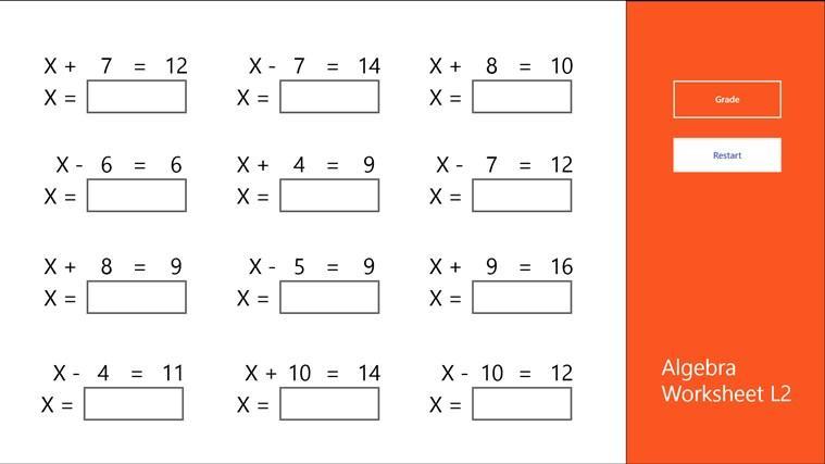 Simple Algebra Worksheets Grade 5