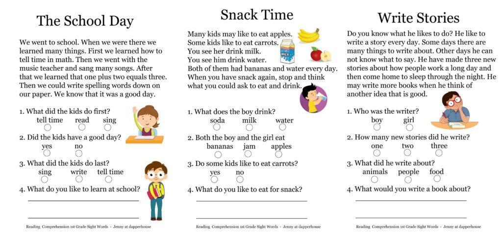 1st Grade Comprehension Worksheets Pdf