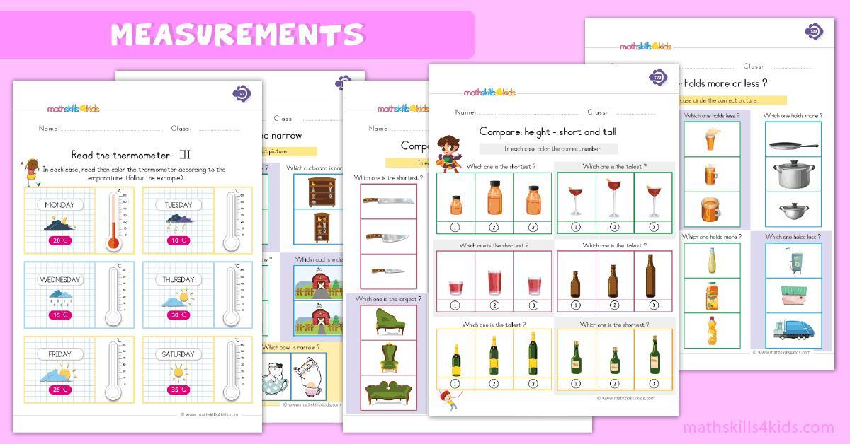 1st Grade First Grade Measurement Worksheets