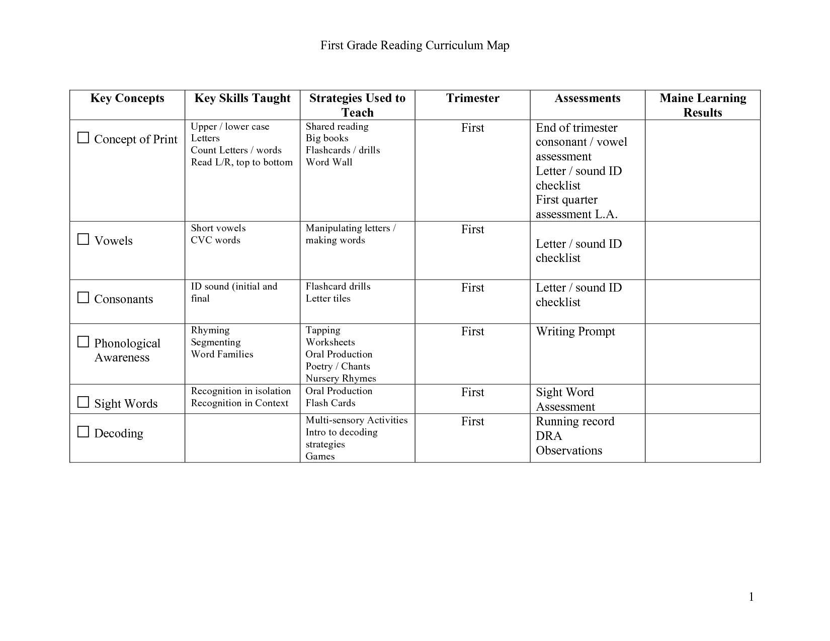 1st Grade Level Worksheets 1