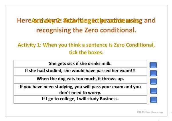 English Worksheet Zero Conditional 1