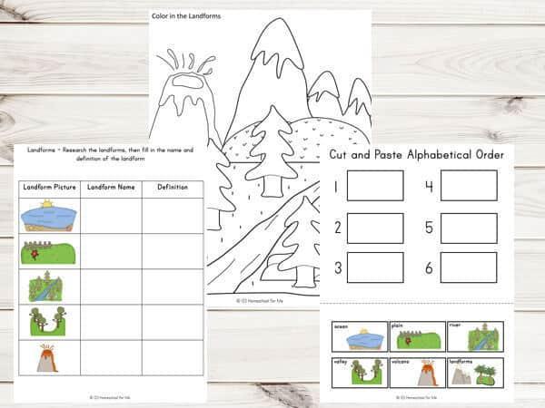 Free Landforms Worksheets For 1st Grade