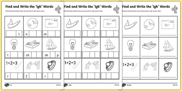Igh Worksheets 1st Grade 3