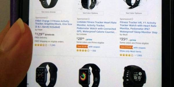 fitness watches on a smartphone screen