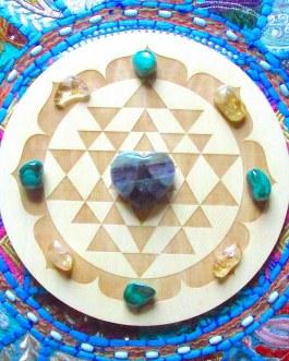 Crystal Grid Plate, Sri Yantra Circle
