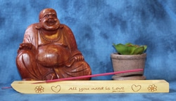 """Incense Holder Engraved with """"All You Need Is Love"""" by John Lennon"""