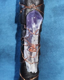 Smudging Feather Fan, Turkey Feathers with Amethyst Quartz Crystal, #8
