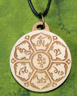 Wooden Pendant, Om Mani Padme Hum