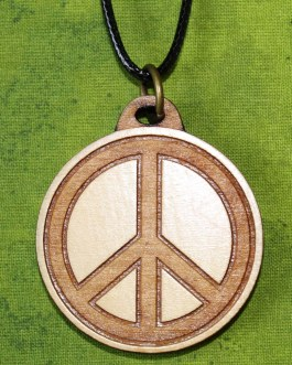 Wooden Pendant, Peace Sign
