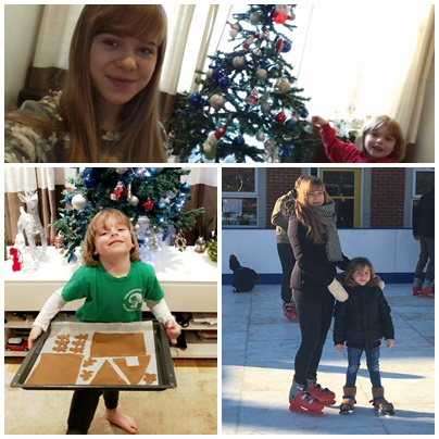 "Helen: ""The three pictures show us doing some fun stuff during the Christmas season. We decorated the Christmas tree, made a gingerbread house and went ice skating together."""