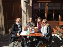 The team + Samantha having lunch in the lovely sunshine