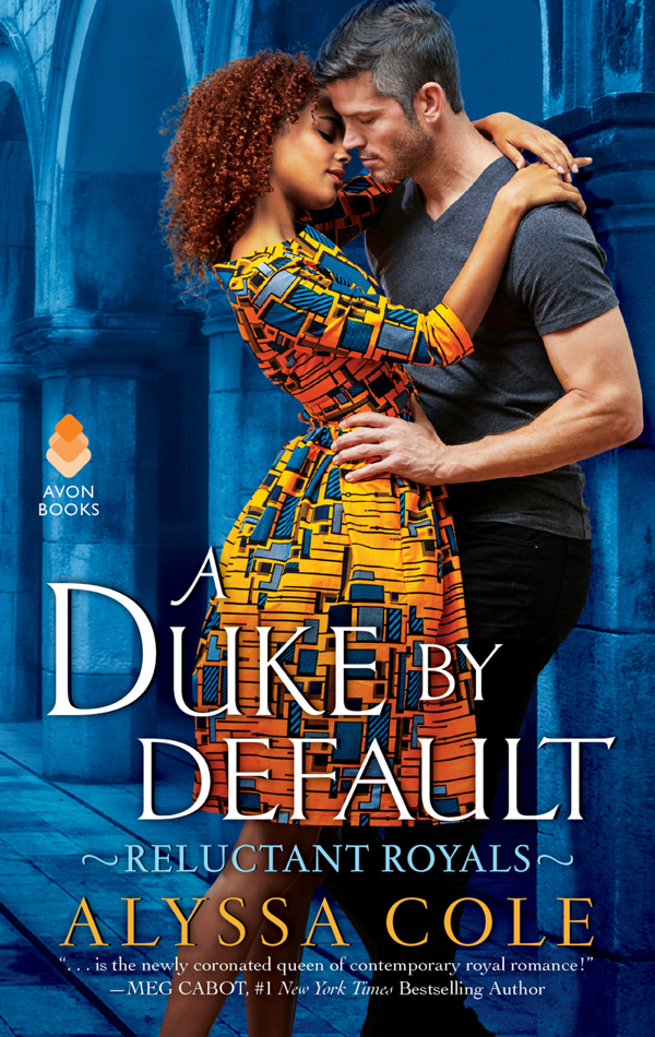 A Duke by Default by Alyssa Cole a woman in a gold and blue print dress embracing a dude in a grey tshirt with grey sideburns - mrowr - against a blue tone background