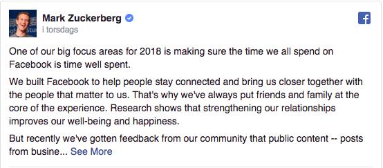 Facebook nyheter sidor