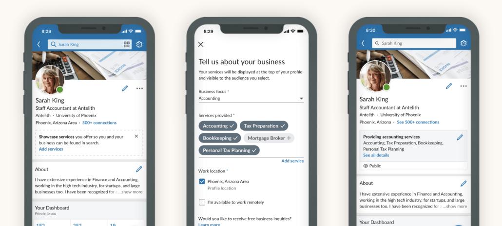 LinkedIn frilansare småföretagare tjänster