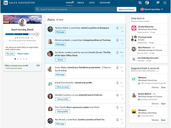 LinkedIn elevate sales navigator företagssidor