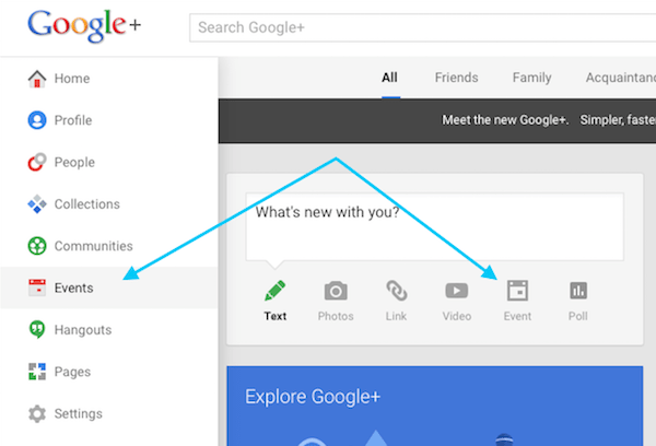 How to set up an event on Google+