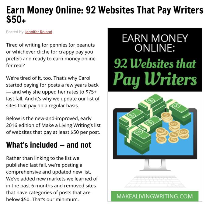 Siti web che pagano scrittori $ 50+