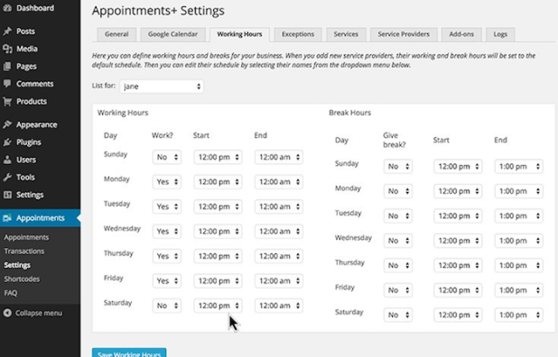 WordPress - Appointments+ Plugin