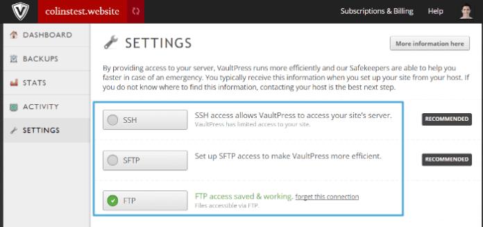 VaultPress - settings