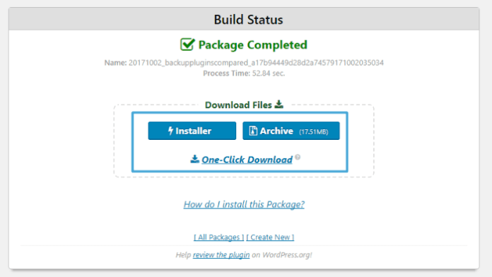 Duplicator - package completed
