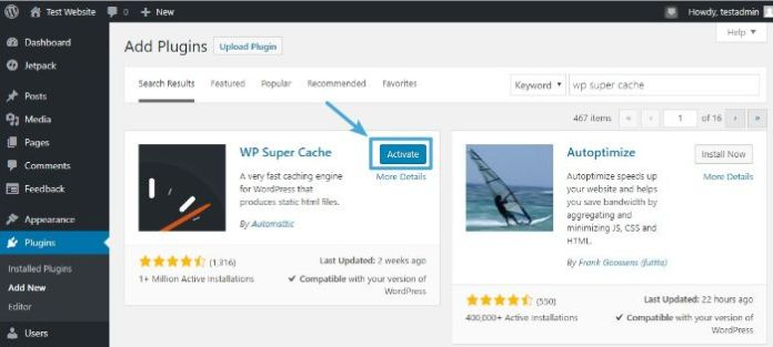 Activate WordPress Wp Super Cache plugin