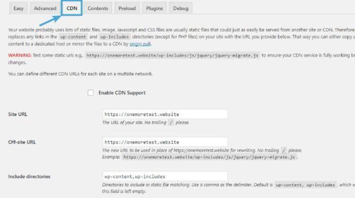 Install a CDN with WP Super Cache